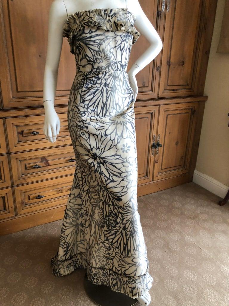 Black Oscar de la Renta for Bergdorf Goodman Strapless Silk Evening Dress with Shawl For Sale
