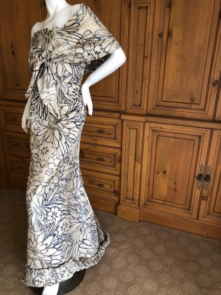 Oscar de la Renta for Bergdorf Goodman Strapless Silk Evening Dress with Shawl For Sale 1