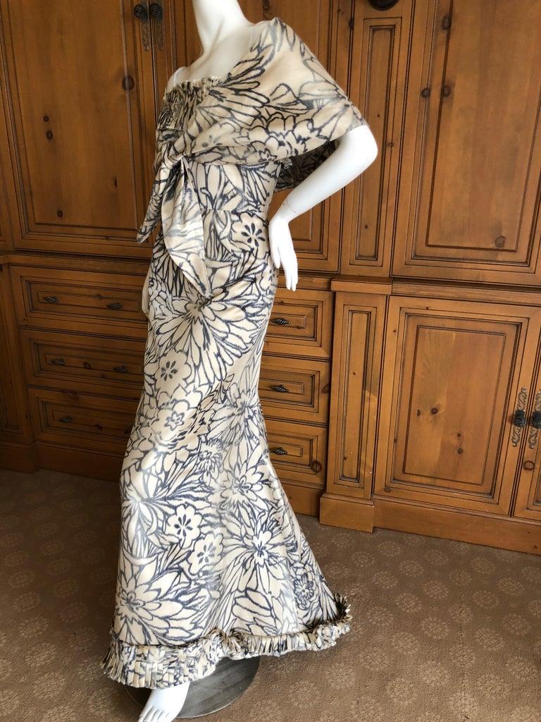 Oscar de la Renta for Bergdorf Goodman Strapless Silk Evening Dress with Shawl For Sale 2