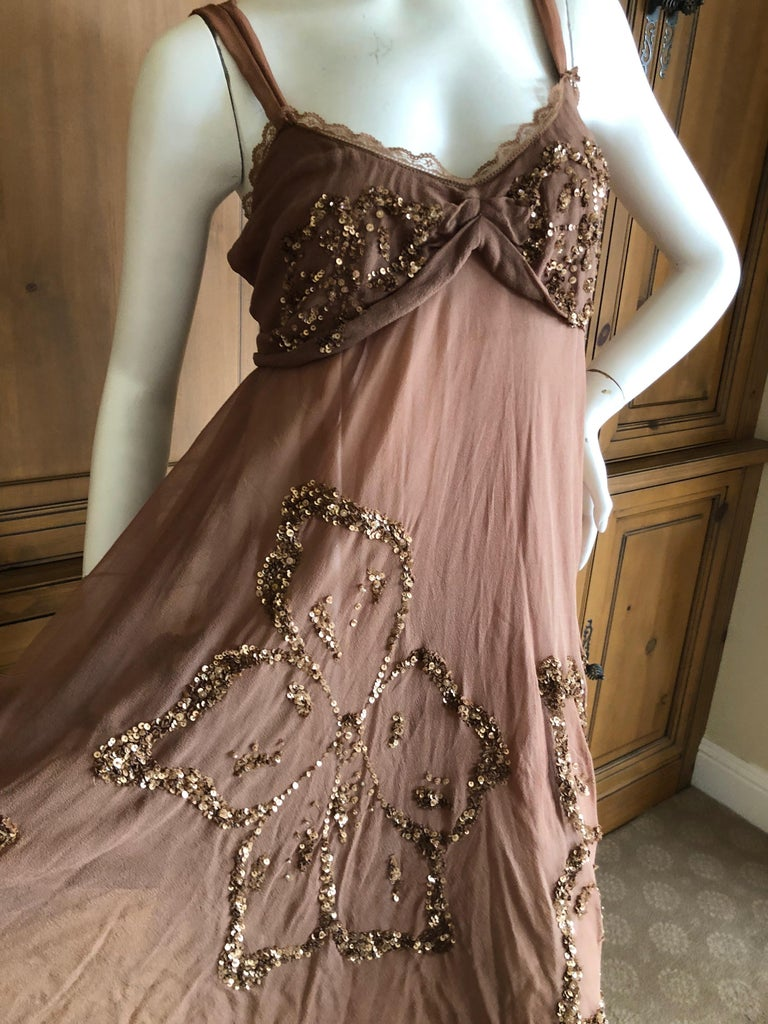 John Galliano SS 2007 Sequin Flower Embellished Mini Cocktail Dress Size 42 In Excellent Condition For Sale In San Francisco, CA