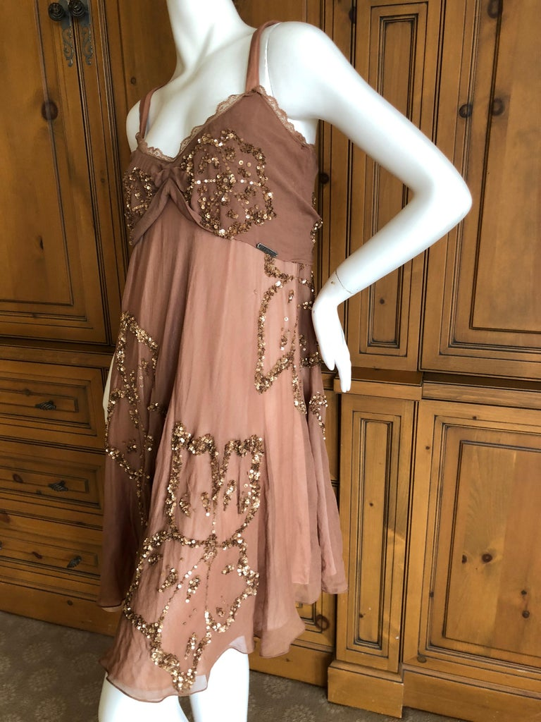 John Galliano SS 2007 Sequin Flower Embellished Mini Cocktail Dress Size 42 For Sale 1