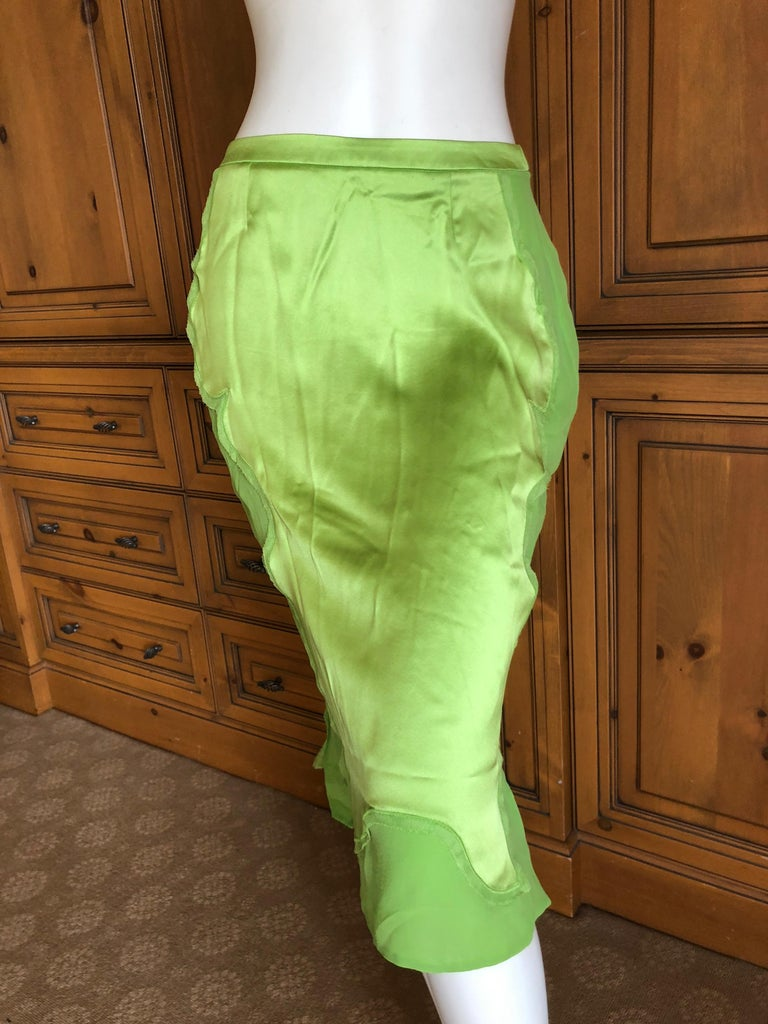 Silver Yves Saint Laurent by Tom Ford 2004 Bright Green Silk Skirt New with Tags Sz 38 For Sale