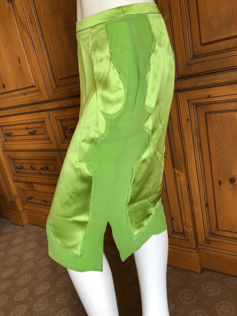 Yves Saint Laurent by Tom Ford 2004 Bright Green Silk Skirt New with Tags Sz 38 In New Condition For Sale In San Francisco, CA
