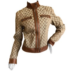 Gucci by Tom Ford Leather Monogram Moto Jacket, 2002