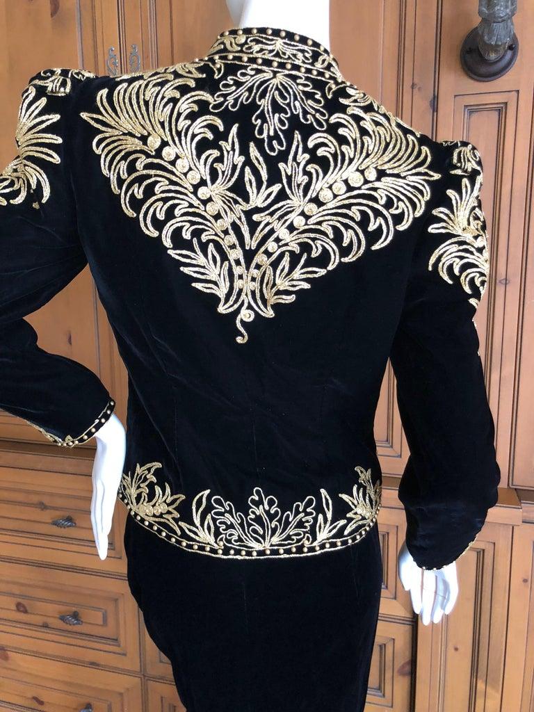 Women's Oscar de la Renta Heavily Gold Embellished Black Velvet Vintage 1980's Jacket For Sale