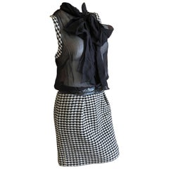 Dolce & Gabbana D&G Vintage Sheer Houndstooth Dress with Pussy Bow