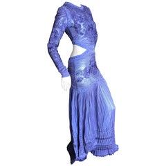 Roberto Cavalli Sexy Sheer Purple Guipure Lace Evening Dress
