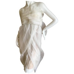Gianfranco Ferre Ethereal Sheer Ivory Dress with Bold Bow Back