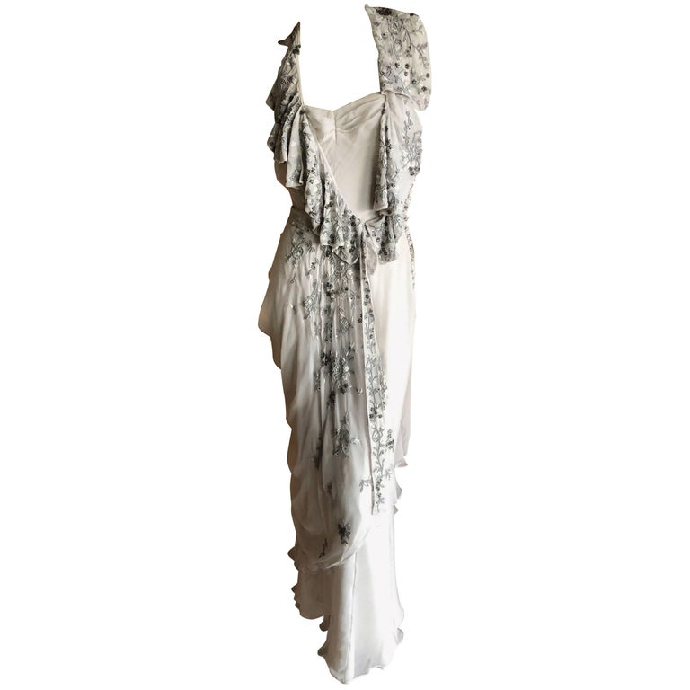 Christian Dior by John Galliano Dove Gray Evening Dress with Lesage Bead Flowers For Sale