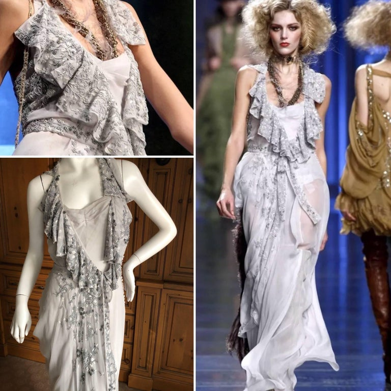 Christian Dior John Galliano exquisite ruffled Dior Gray dress with beautiful bead and crystal flower embellishments by Maison Lesage  Size 36  Bust 36