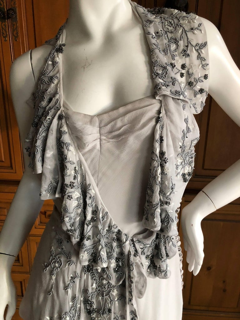Christian Dior by John Galliano Dove Gray Evening Dress with Lesage Bead Flowers In Excellent Condition For Sale In San Francisco, CA