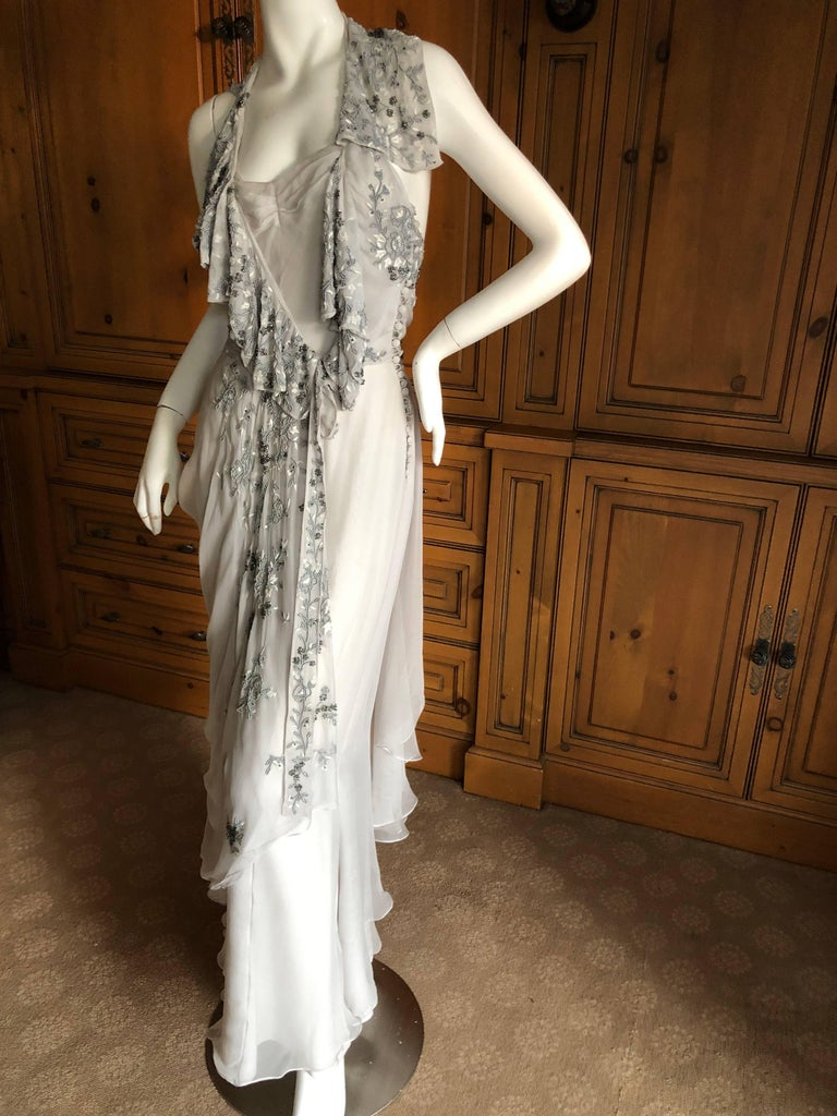 Women's Christian Dior by John Galliano Dove Gray Evening Dress with Lesage Bead Flowers For Sale