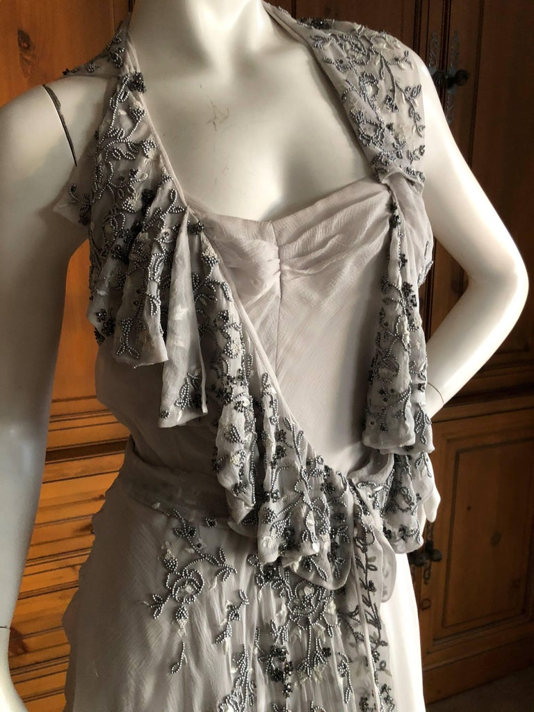 Christian Dior by John Galliano Dove Gray Evening Dress with Lesage Bead Flowers For Sale 1