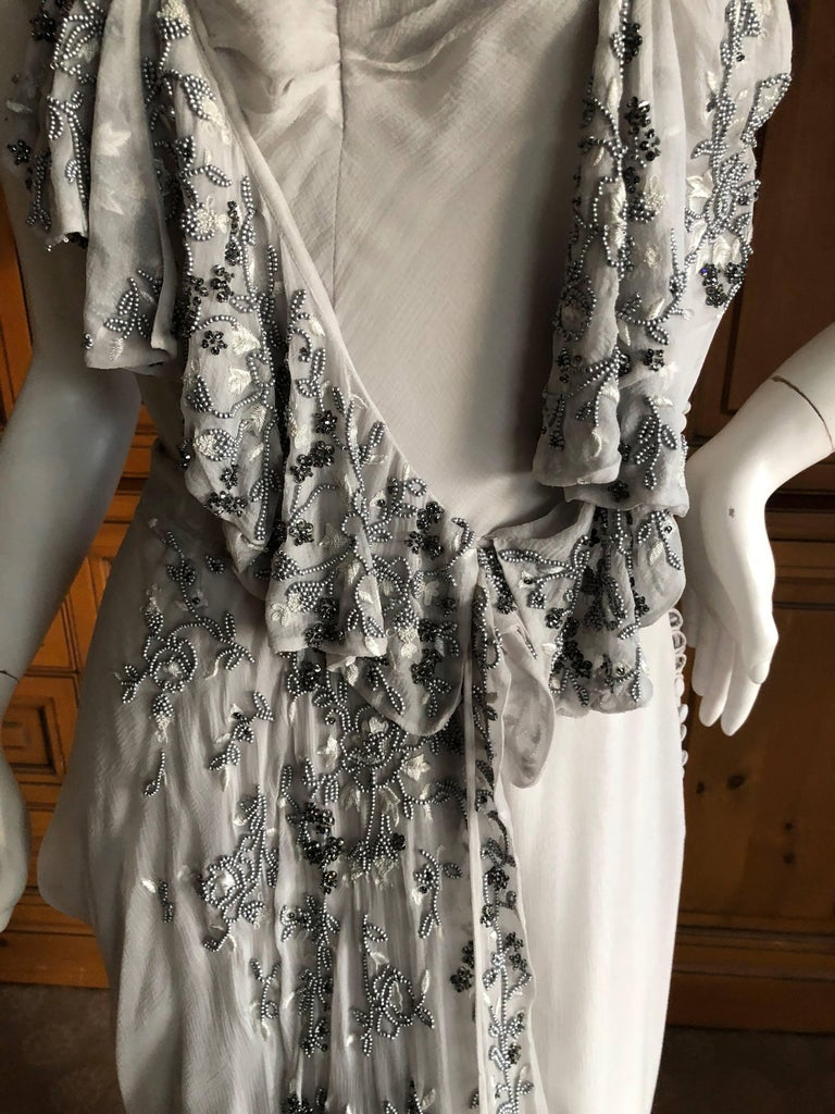 Christian Dior by John Galliano Dove Gray Evening Dress with Lesage Bead Flowers For Sale 2