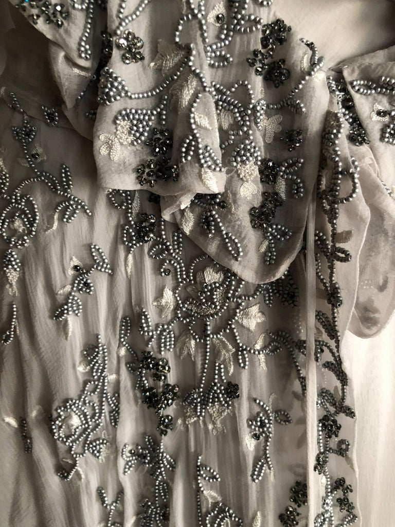 Christian Dior by John Galliano Dove Gray Evening Dress with Lesage Bead Flowers For Sale 3