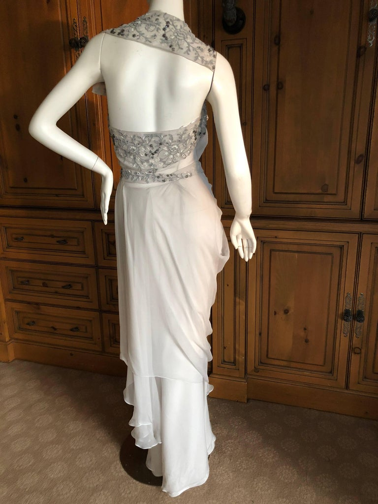 Christian Dior by John Galliano Dove Gray Evening Dress with Lesage Bead Flowers For Sale 5