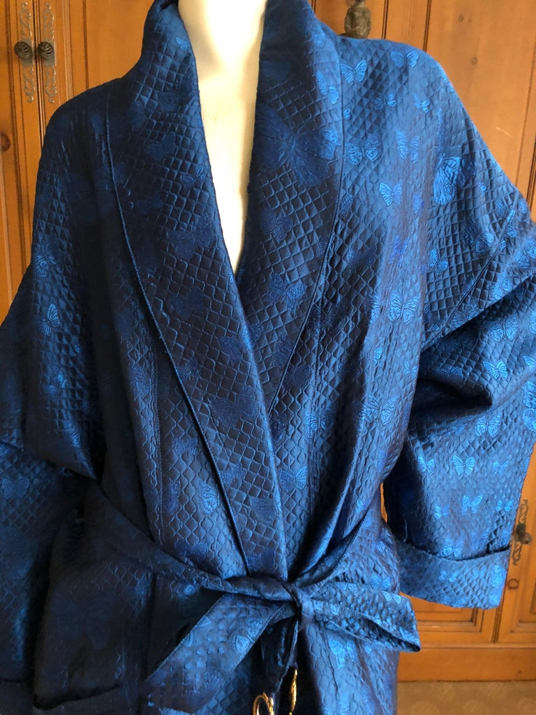 Gianni Versace Intimo 1980's Silk Butterfly Pattern Brocade Robe w Fringe Belt For Sale 2