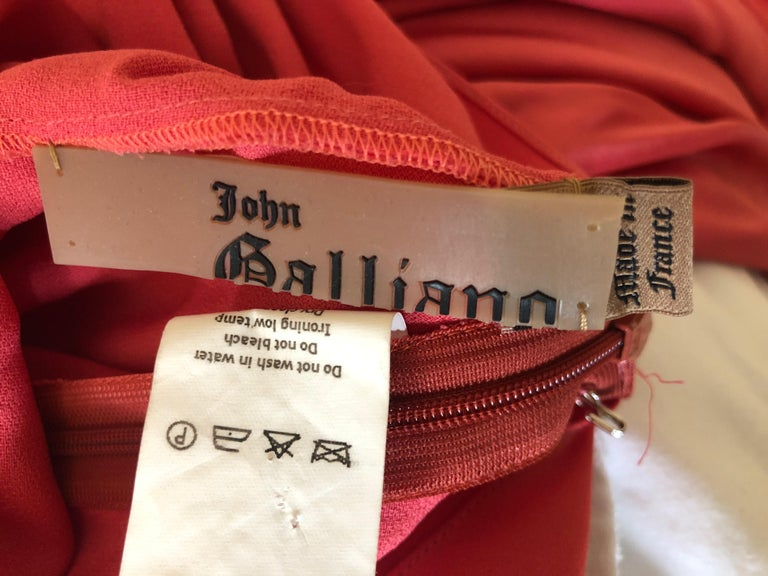 John Galliano Salmon Color Dramatic Bias Cut Evening Dress Spring 2002 For Sale 3
