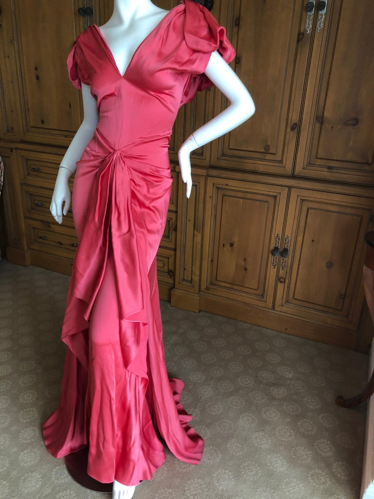 Black John Galliano Salmon Color Dramatic Bias Cut Evening Dress Spring 2002 For Sale