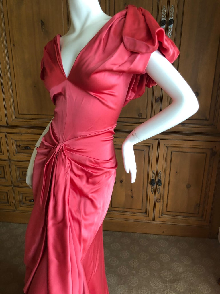 John Galliano Salmon Color Dramatic Bias Cut Evening Dress Spring 2002 For Sale 1