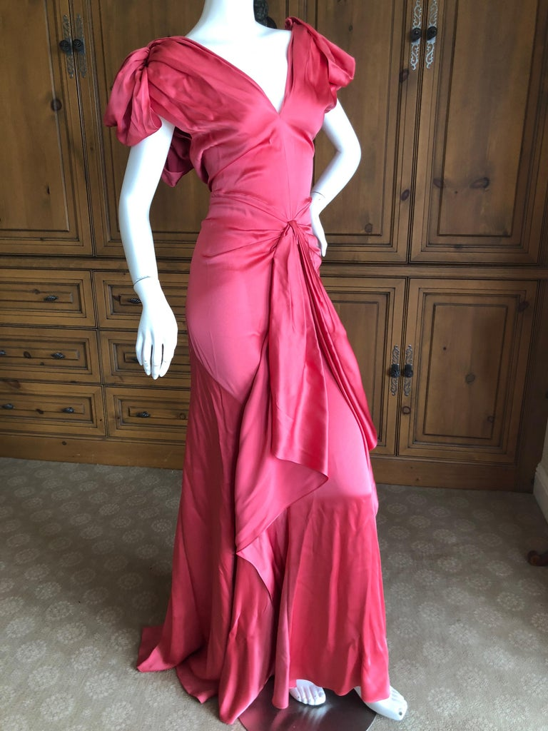 John Galliano Salmon Color Dramatic Bias Cut Evening Dress Spring 2002 For Sale 2