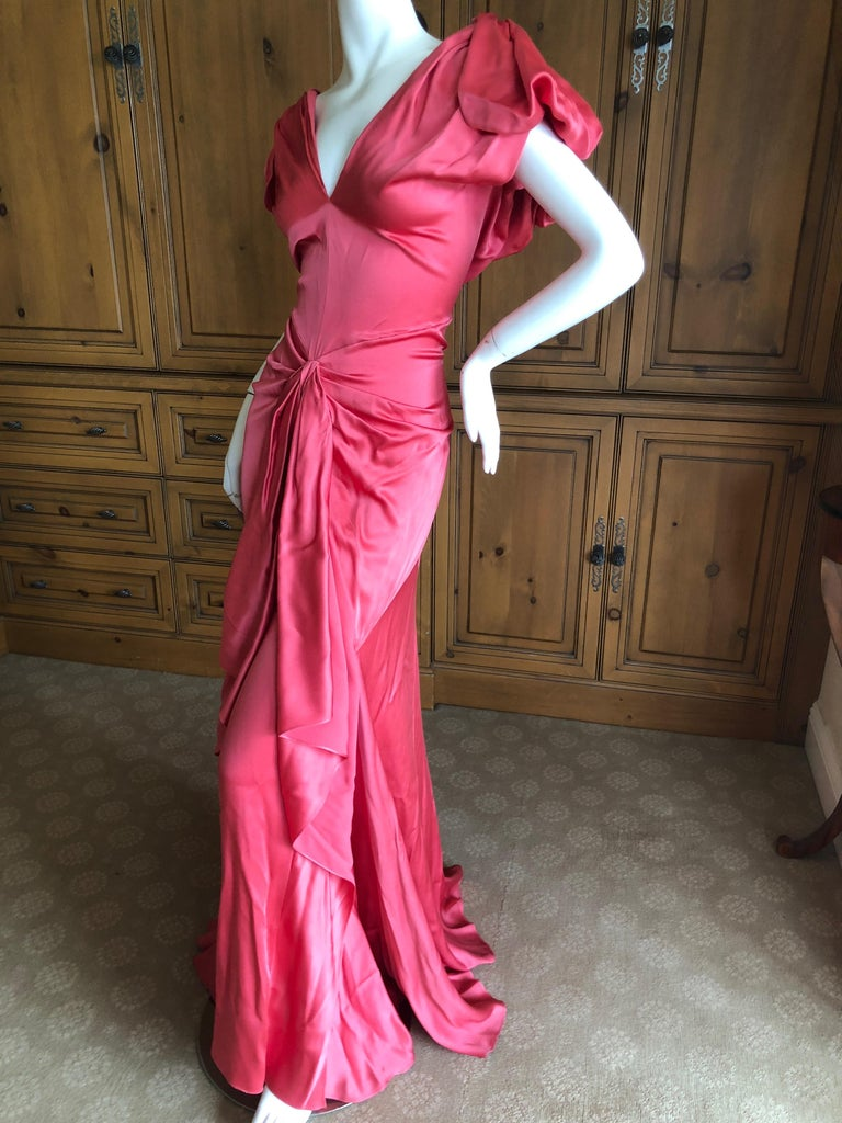 Women's John Galliano Salmon Color Dramatic Bias Cut Evening Dress Spring 2002 For Sale