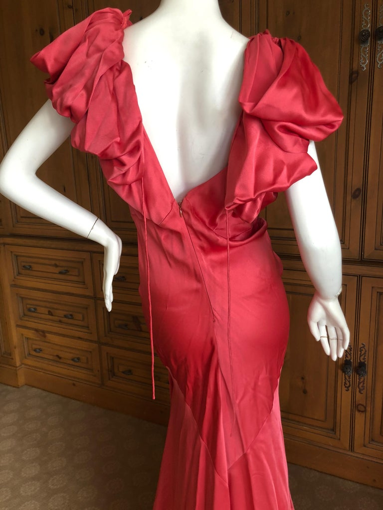 John Galliano Salmon Color Dramatic Bias Cut Evening Dress from Spring 2002 Size 44, but runs small Bust 36' Waist 30
