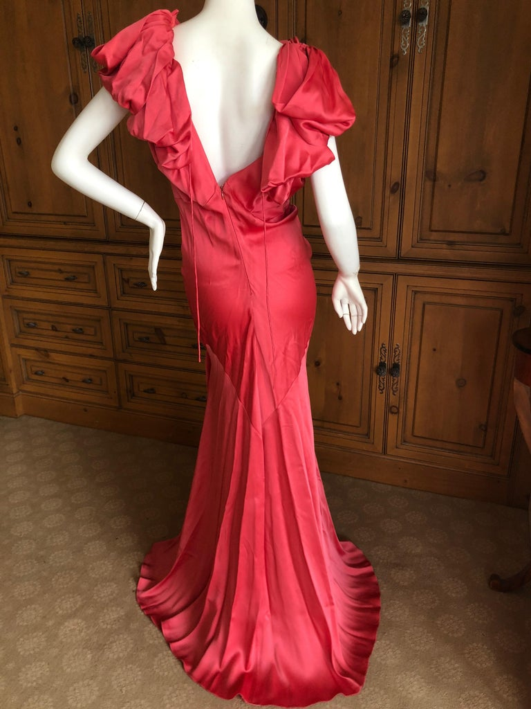 John Galliano Salmon Color Dramatic Bias Cut Evening Dress Spring 2002 In Excellent Condition For Sale In San Francisco, CA
