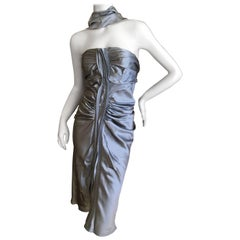 Yves Saint Laurent by Tom Ford Shimmery Silver Silk Dress