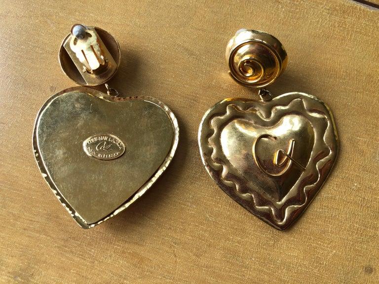 Christian Lacroix 1980's Gold Heart  Chandelier Clip Earrings 3