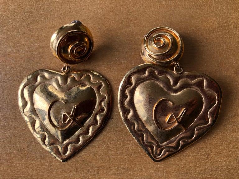 Women's Christian Lacroix 1980's Gold Heart  Chandelier Clip Earrings