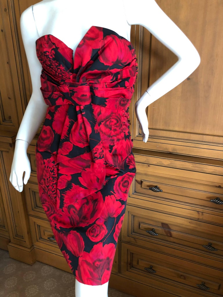 Christian Dior by John Galliano Red Floral Strapless Dress, Pre Fall 2009  For Sale 2