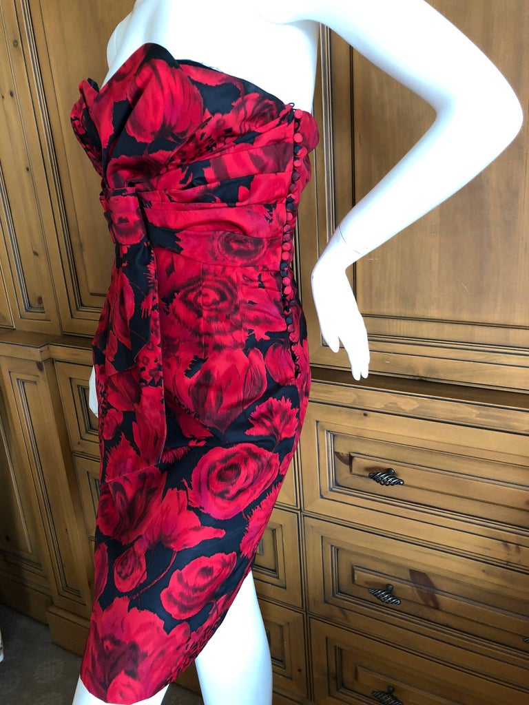Christian Dior by John Galliano Red Floral Strapless Dress, Pre Fall 2009  For Sale 3