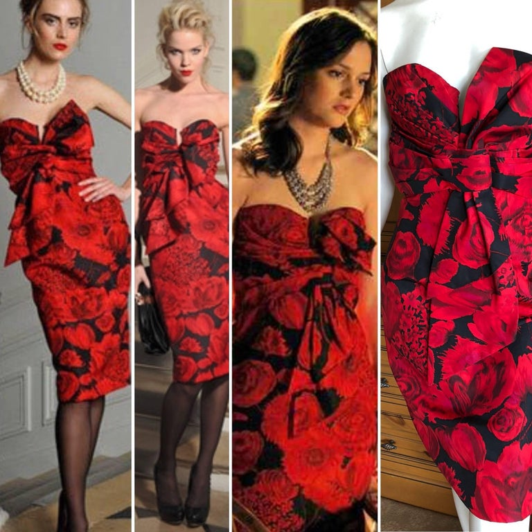 Christian Dior by John Galliano Red Floral Strapless Dress, Pre Fall 2009  For Sale 6