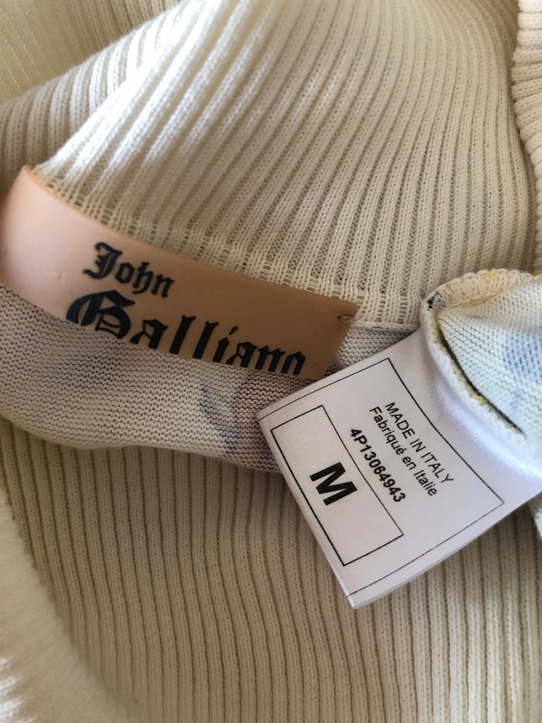 John Galliano 2004 Yellow Silk Flower Pot Pattern Knit Dress  For Sale 3