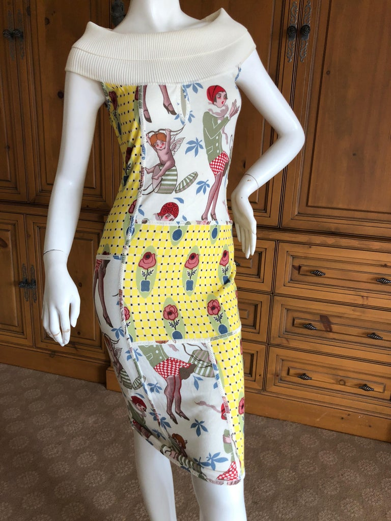 White  John Galliano 2004 Yellow Silk Flower Pot Pattern Knit Dress  For Sale
