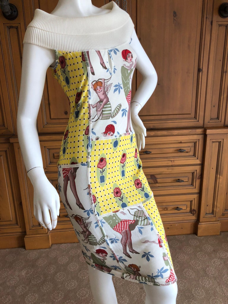 John Galliano 2004 Yellow Silk Flower Pot Pattern Knit Dress  In Excellent Condition For Sale In San Francisco, CA