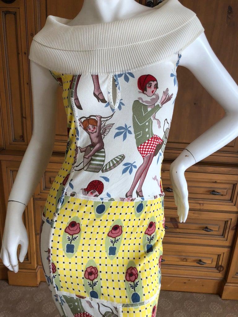 Women's  John Galliano 2004 Yellow Silk Flower Pot Pattern Knit Dress  For Sale