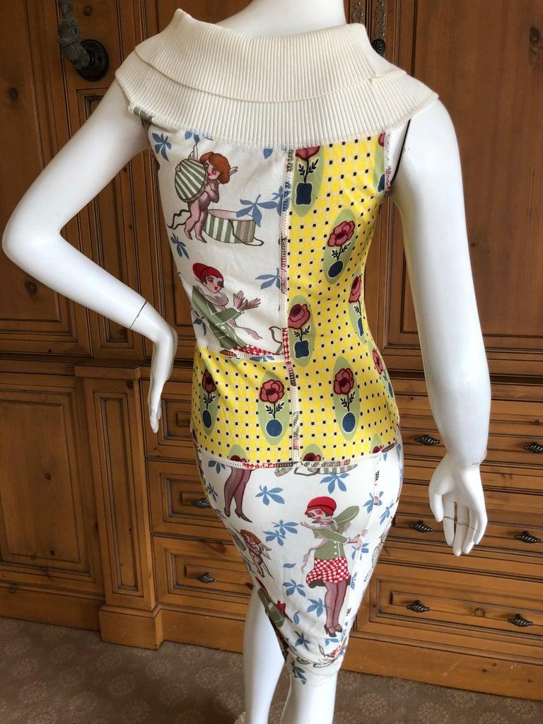 John Galliano 2004 Yellow Silk Flower Pot Pattern Knit Dress  For Sale 2