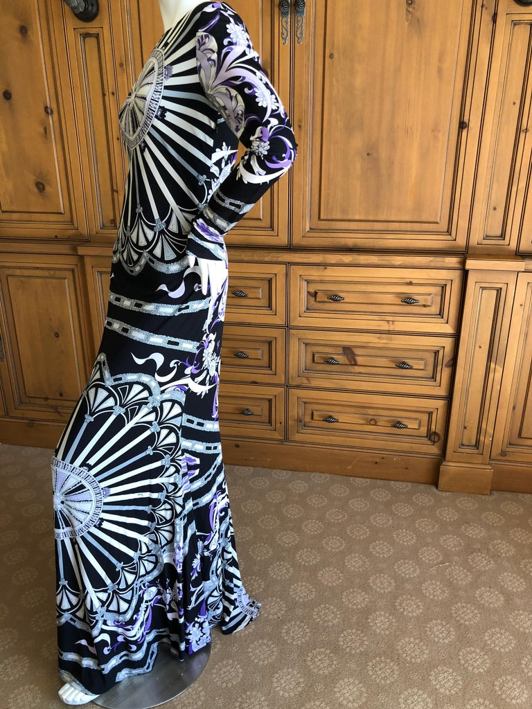 Women's or Men's Emilio Pucci Long Evening Dress with Cut Out Back Size 44 For Sale