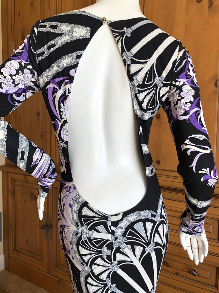 Emilio Pucci Long Evening Dress with Cut Out Back Size 44 For Sale 2