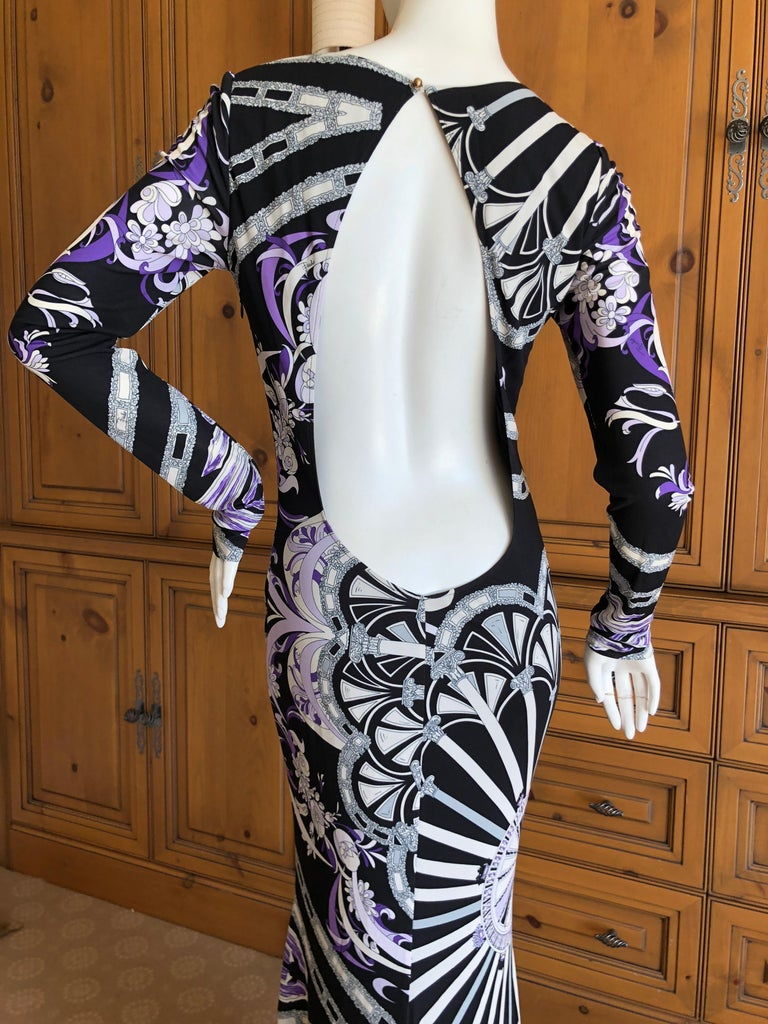 Emilio Pucci Long Evening Dress with Cut Out Back Size 44 For Sale 1