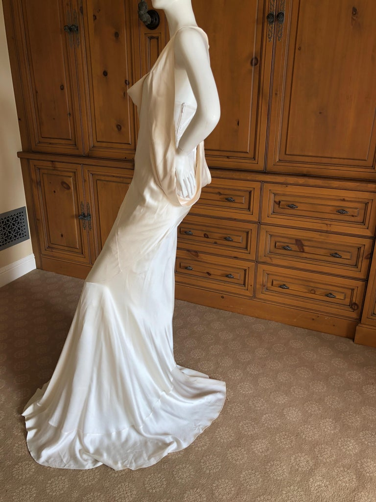 Alexander McQueen Daring Ivory Duchesse Silk Satin Evening or Wedding Dress For Sale 1