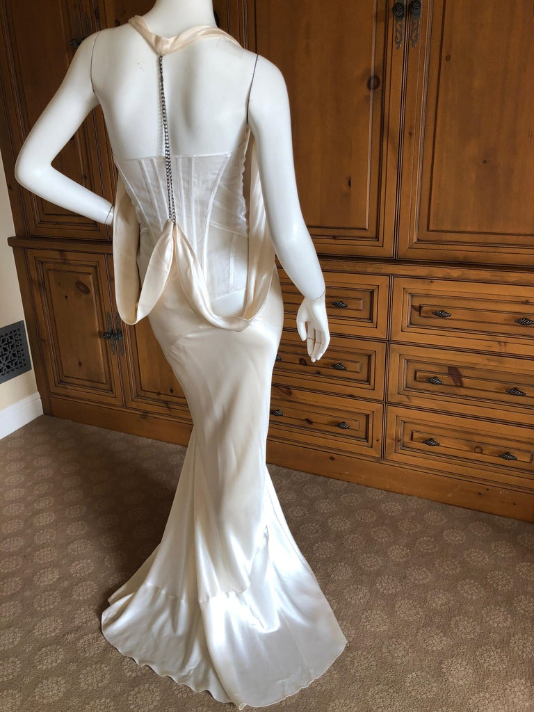 Green  Alexander McQueen Daring Ivory Duchesse Silk Satin Evening or Wedding Dress For Sale