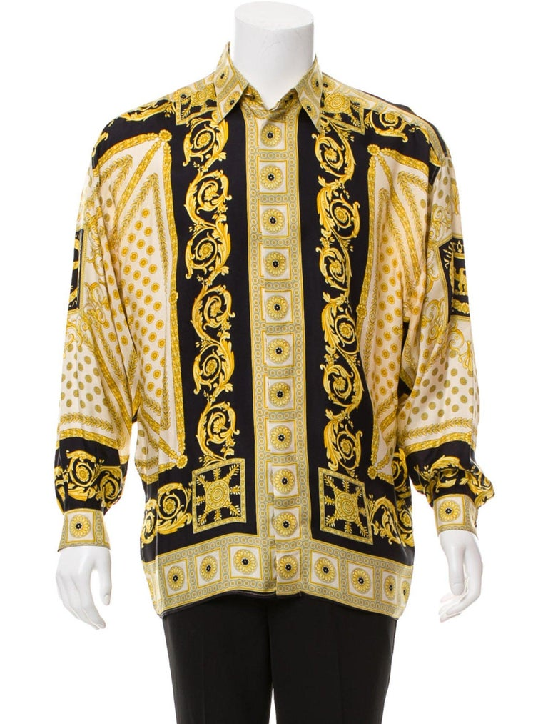 383fa788 Women's or Men's V2 Gianni Versace 1999 Black and Gold Baroque Imperial  Eagle 100% Silk