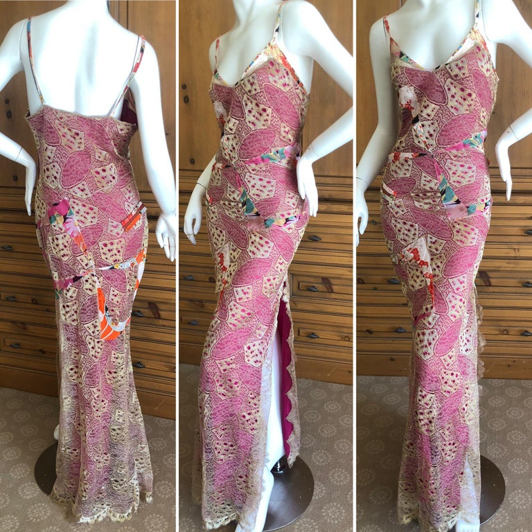 Christian Dior by John Galliano Gold Lace Overlay Evening Dress Scalloped Edges So pretty ,there is a high slit, edged in gold lace scallops. Please use the zoom feature to see the details, it is amazing. Size 42  Bust 40