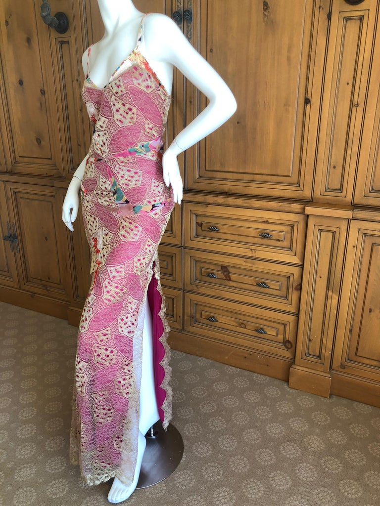 Gray Christian Dior by John Galliano Gold Lace Overlay Evening Dress Scalloped Edges For Sale