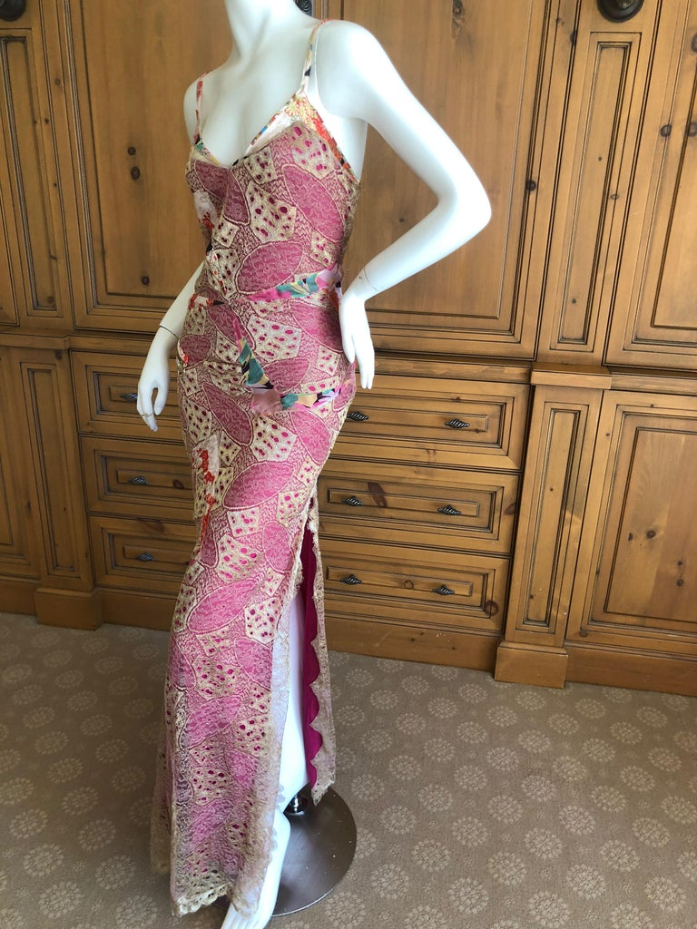Women's Christian Dior by John Galliano Gold Lace Overlay Evening Dress Scalloped Edges For Sale