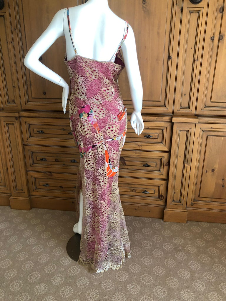 Christian Dior by John Galliano Gold Lace Overlay Evening Dress Scalloped Edges For Sale 5