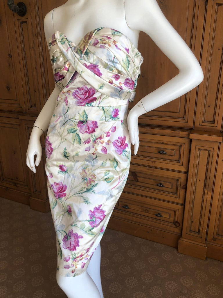 Christian Dior by John Galliano Strapless Silk Floral Cocktail Dress. This is so pretty. Size 38  Bust 36